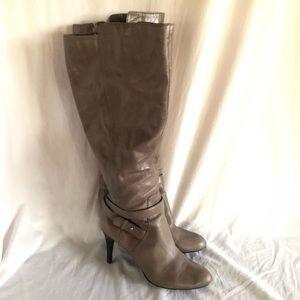 Nine West High Grey-Greenish Leather Boots Sz 9.5